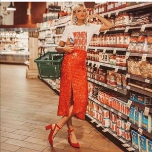 Zara Red Sequin skirt